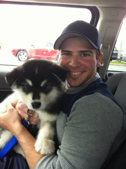 Maverick the Alaskan Malamute with Evan in Nova Scotia